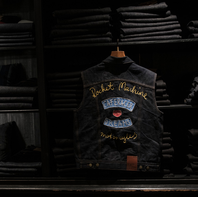 handmade chainstitch vest Caferacerdreams spain x Rocketmachine germany