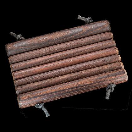 Seifenablage mit runden Thermoholzstäben dunkel geölt