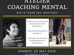"""Atelier coaching mental sur le thème des """"Emotions"""" - samedi 25 mai 2019"""