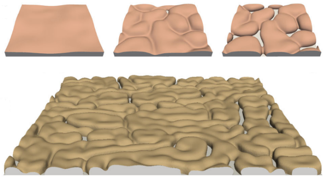 Spinodal-like solid-state dewetting