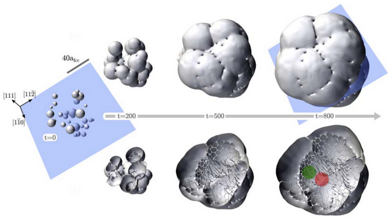 Growth of a polycrystal by APFC Simulations