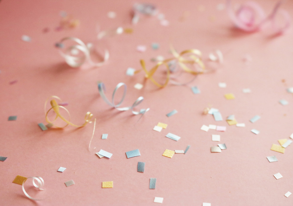Confetti on a pink floor