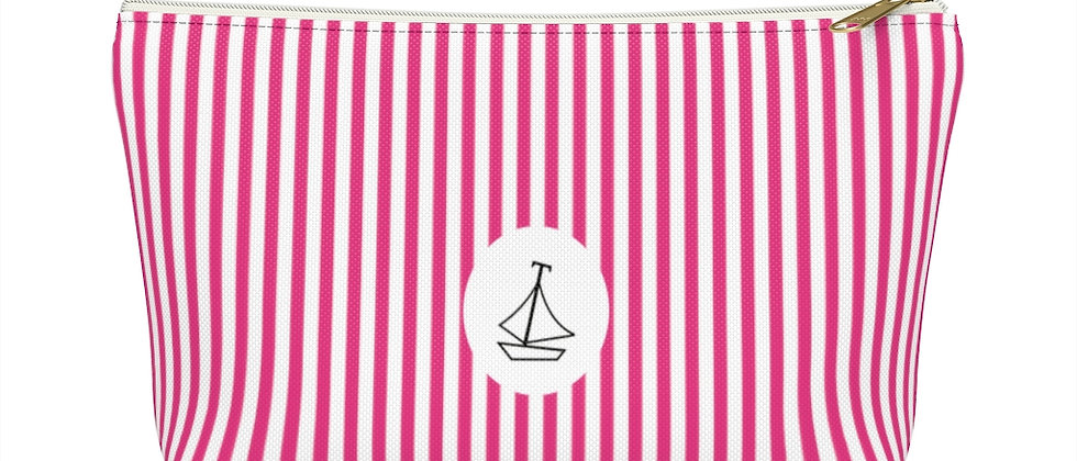 Pink Stripe Accessory Pouch w T-Bottom by Charles Tybee