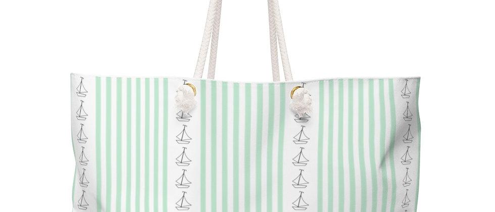 Simplistic Green Vertical Stripe Weekender Bag by Charles Tybee