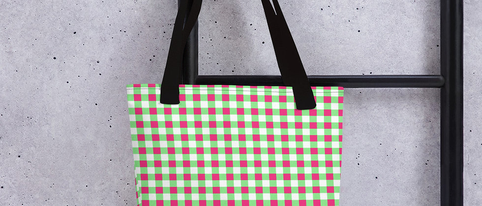 Lime Green Gingham Tote bag