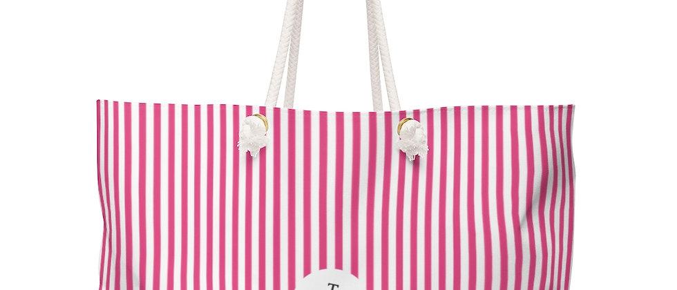 Pink Stripe Weekender Bag by Charles Tybee