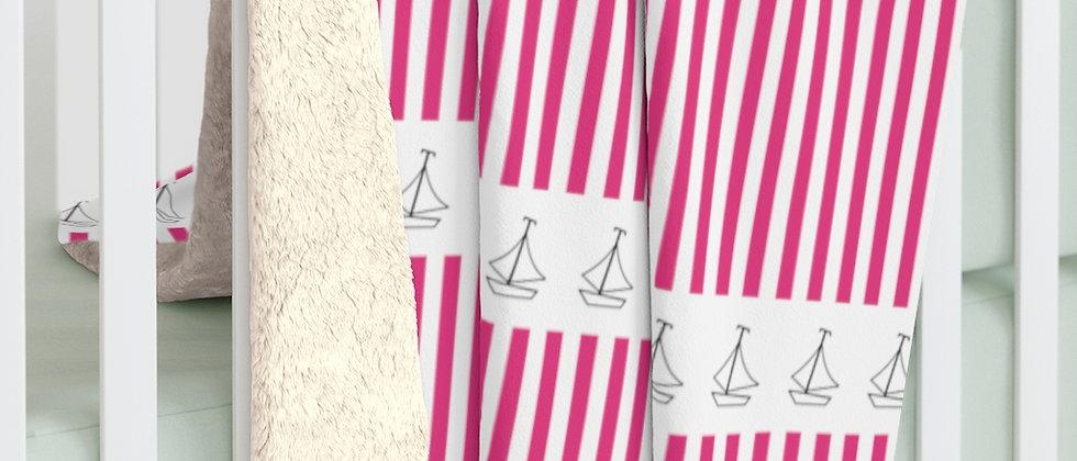 Simplistic Pink Horizontal Stripe Sherpa Fleece Blanket by Charles Tybee