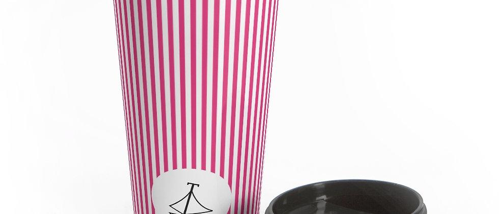 Pink Stripe Stainless Steel Travel Mug by Charles Tybee