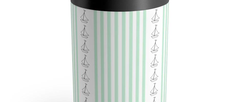 Simplistic Green Vertical Stripe Can Holder by Charles Tybee