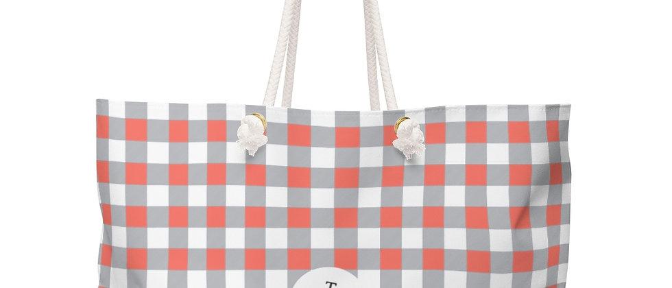 Gingham Coral Weekender Bag by Charles Tybee