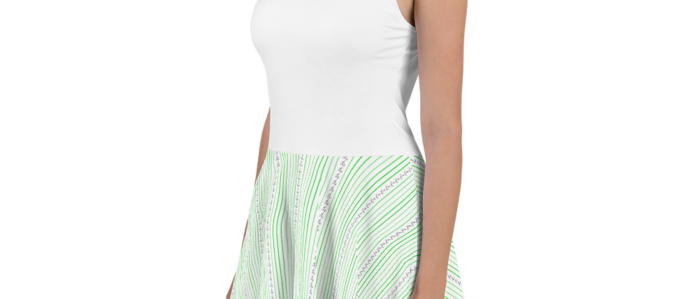 Green Vertical Sailboat Skater Dress