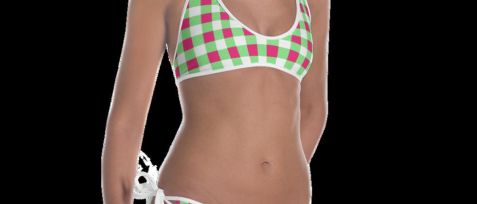 Lime Green Gingham Bikini