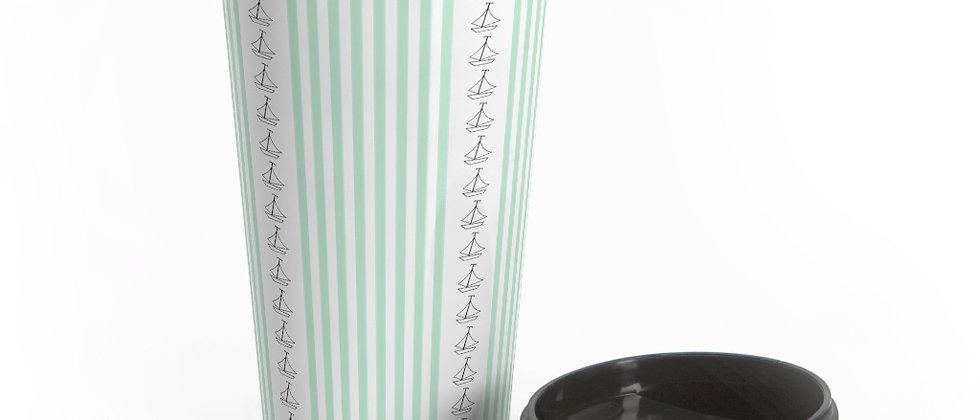 Simplistic Green Vertical Stripe Stainless Steel Travel Mug by Charles Tybee