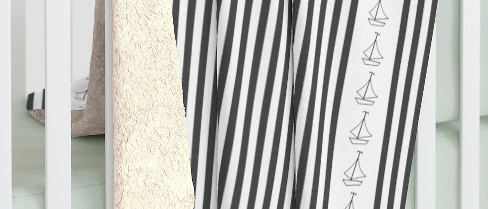 Simplistic Black Vertical Stripe Sherpa Fleece Blanket by Charles Tybee