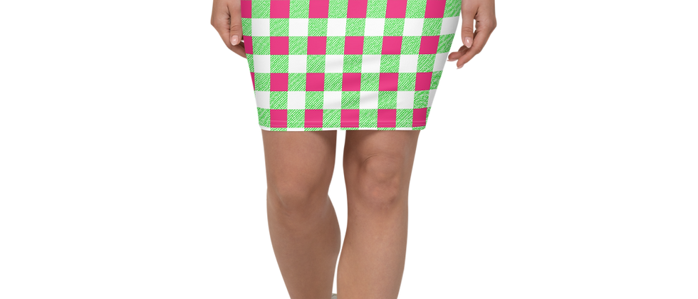 Remove From Wix Lime Green Gingham Pencil Skirt