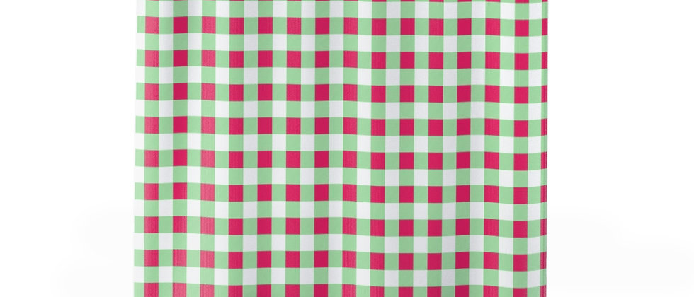 Gingham Lime Green Shower Curtain by Charles Tybee