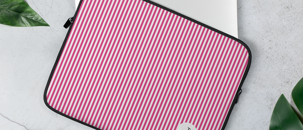 Pink Pinstripe Laptop Sleeve