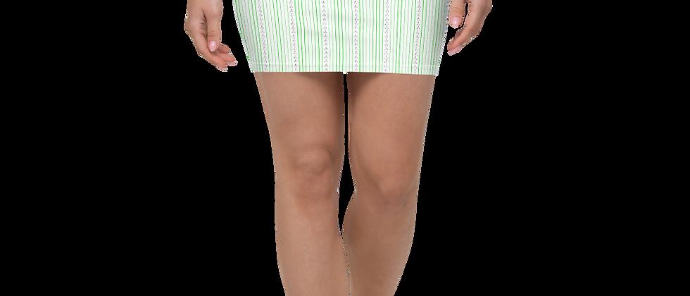 Green Vertical Sailboat Mini Skirt