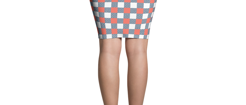 Remove from Wix Coral Gingham Pencil Skirt