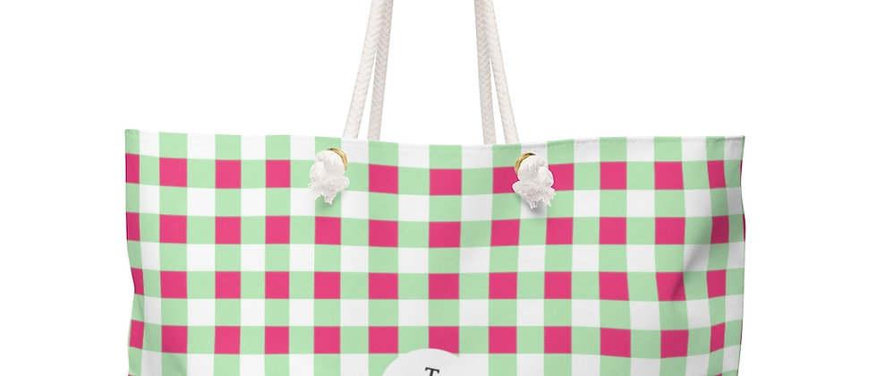 Gingham Lime Green Weekender Bag