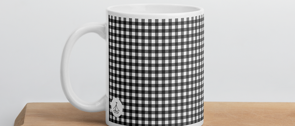 Black Gingham Mug