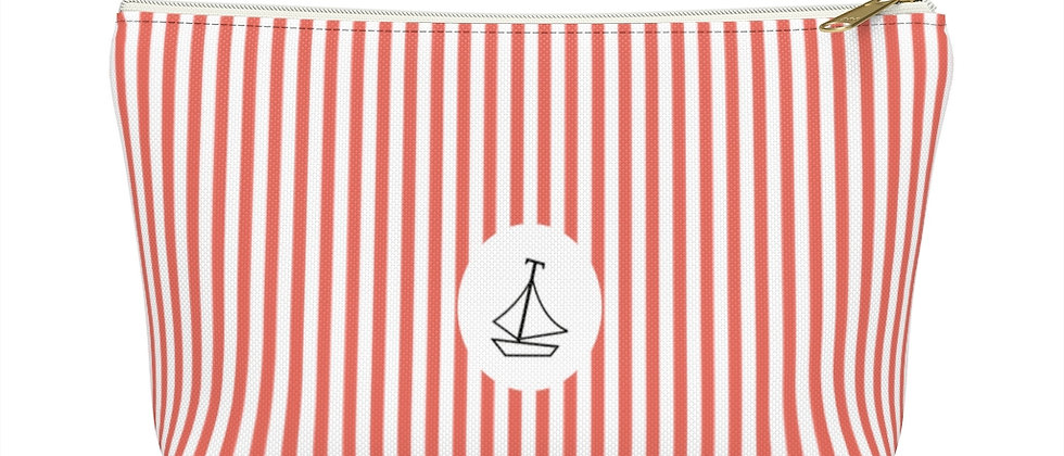 Coral Stripe Accessory Pouch with a T-Bottom by Charles Tybee