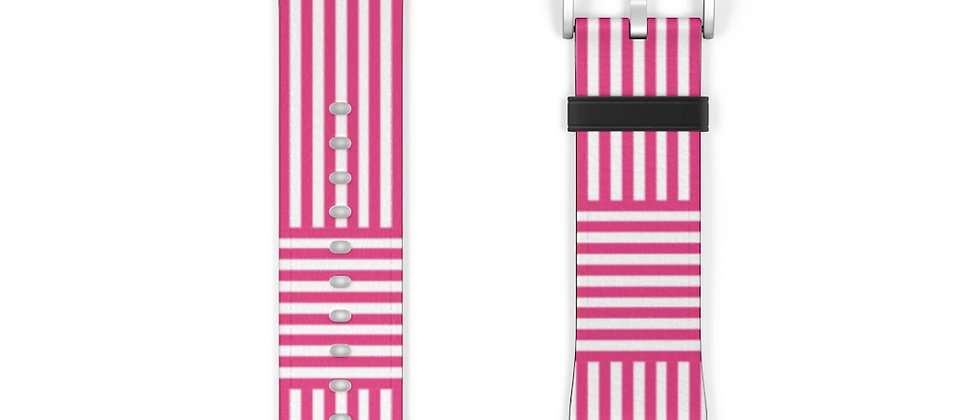 Stripe Criss Cross Pink Watch Band by Charles Tybee