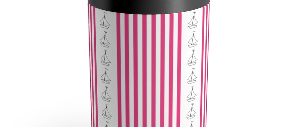 Simplistic Pink Vertical Stripe Can Holder by Charles Tybee