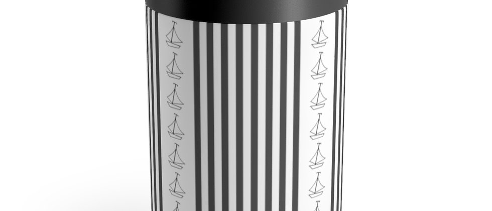 Simplistic Black Vertical Stripe Can Holder by Charles Tybee