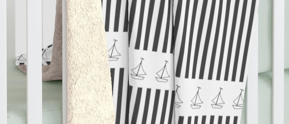 Simplistic Black Horizontal Stripe Sherpa Fleece Blanket by Charles Tybee