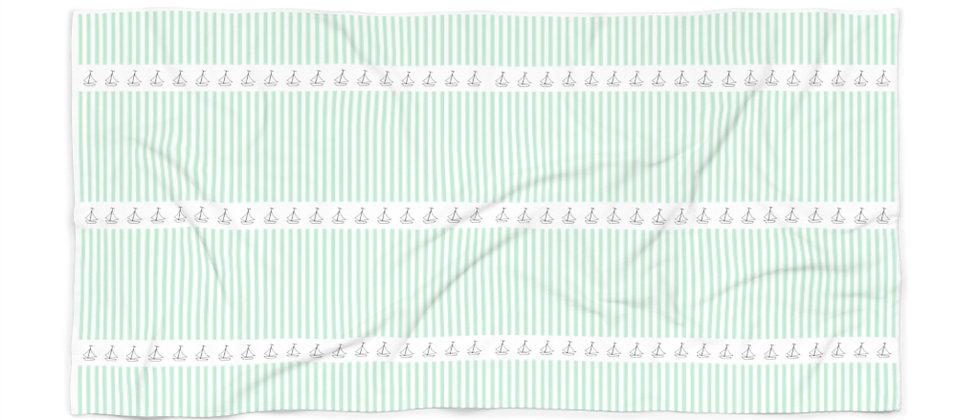 Simplistic Green Stripe Beach Towel by Charles Tybee