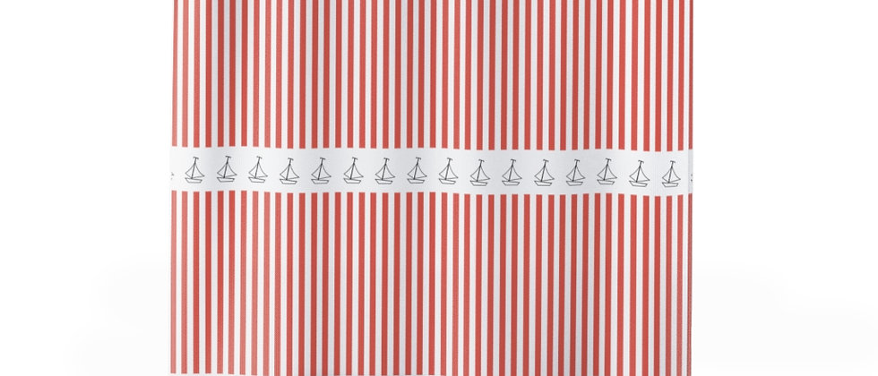 Simplistic Coral Horizontal Stripe Shower Curtain by Charles Tybee