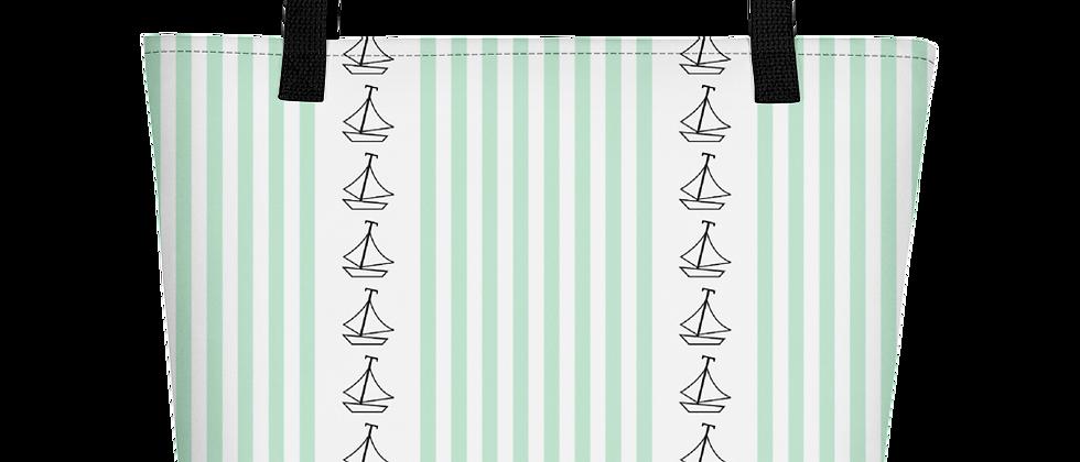 Green Vertical Sailboat Beach Bag