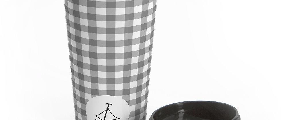 Gingham Black Stainless Steel Travel Mug by Charles Tybee