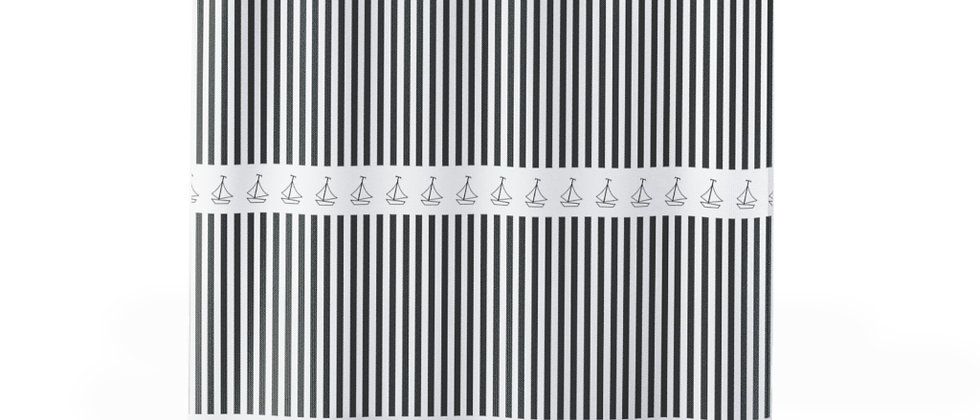 Simplistic Black Horizontal Stripe Shower Curtain by Charles Tybee