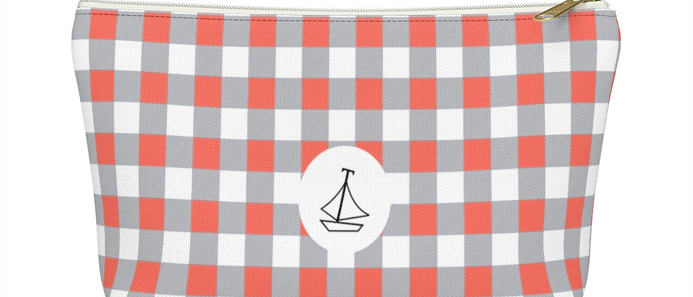 Gingham Coral Accessory Pouch w T-bottom by Charles Tybee