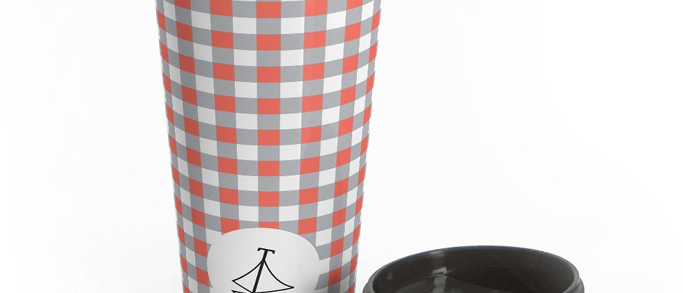 Gingham Coral Stainless Steel Travel Mug by Charles Tybee