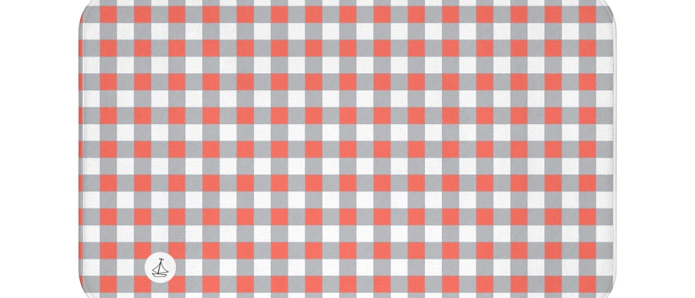 Gingham Coral Bath Mat by Charles Tybee