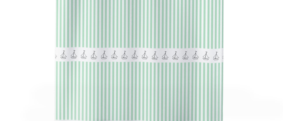 Simplistic Green Horizontal Stripe Shower Curtain by Charles Tybee