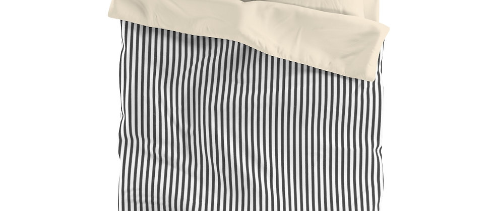 Black Stripe Microfiber Duvet Cover by Charles Tybee