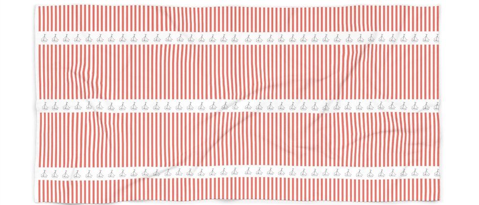 Simplistic Coral Stripe Beach Towel by Charles Tybee