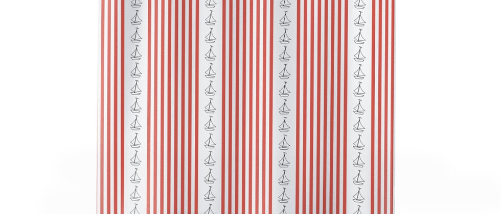 Simplistic Coral Vertical Stripe Shower Curtain by Charles Tybee