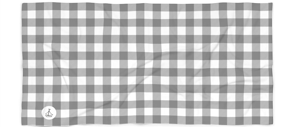 Gingham Black Beach Towel by Charles Tybee