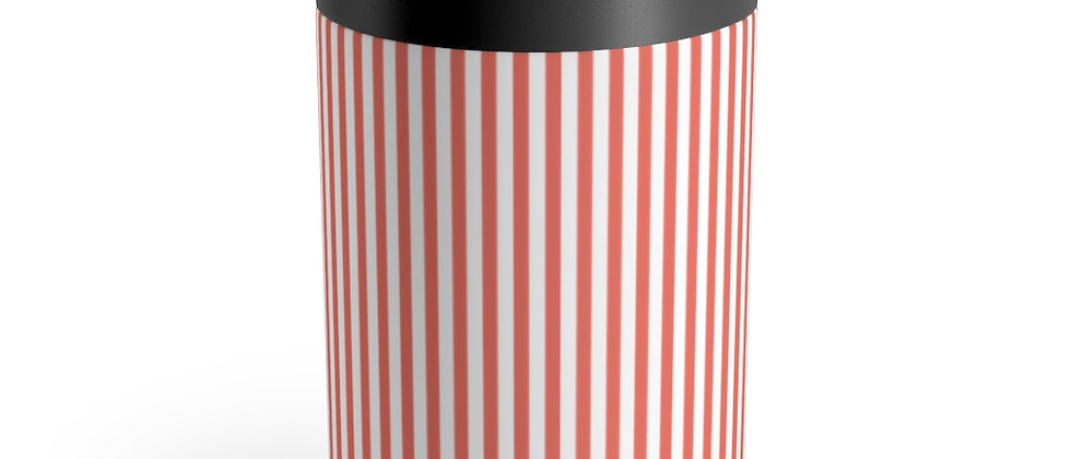 Simplistic Coral Stripe Can Holder by Charles Tybee