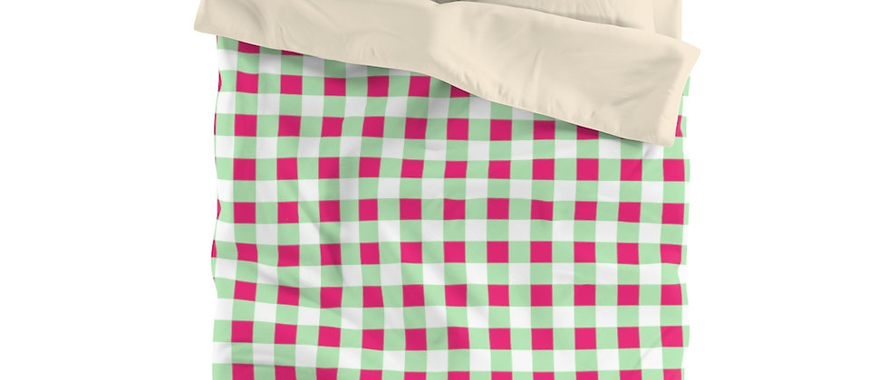 Gingham Lime Green Microfiber Duvet Cover by Charles Tybee