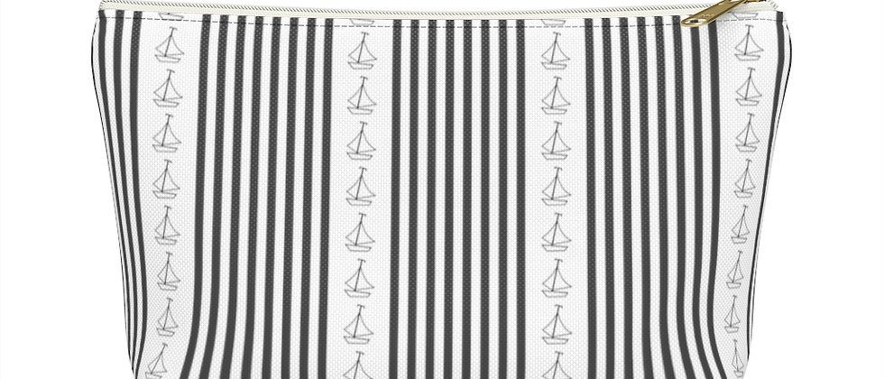 Simplistic Black Vertical Stripe Accessory Pouch w T-bottom by Charles Tybee
