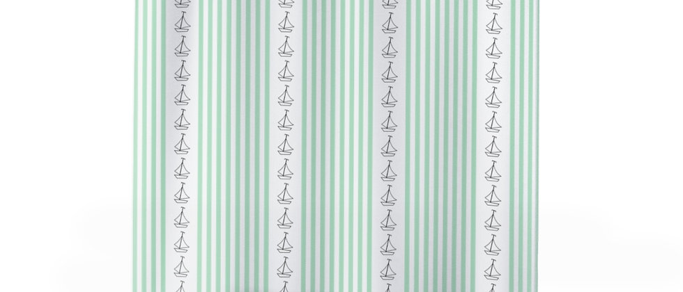 Simplistic Green Vertical Stripe Shower Curtain by Charles Tybee