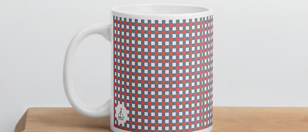 Coral Gingham Mug