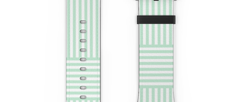Stripe Criss Cross Green Watch Band by Charles Tybee