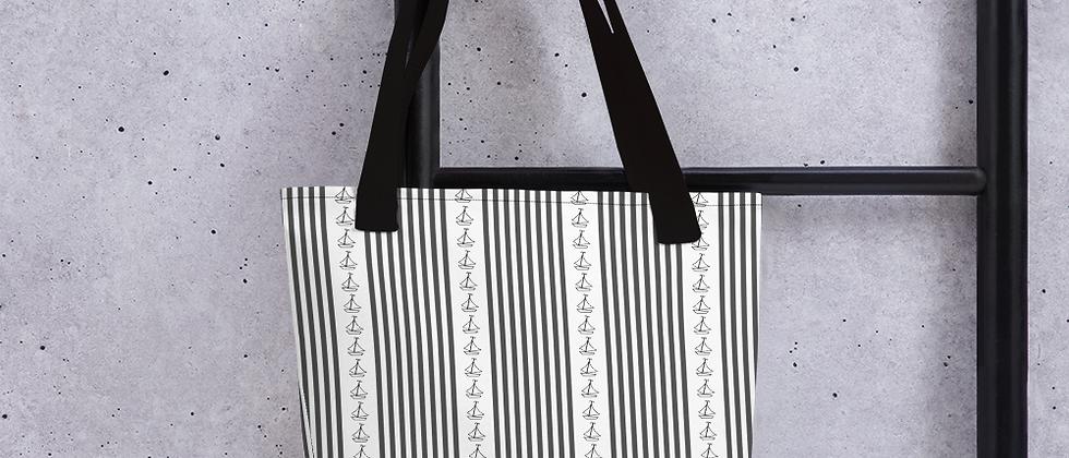 Black Vertical Sailboat Tote bag